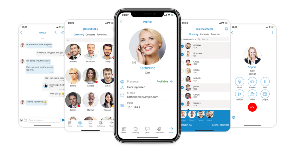 Improved Productivity Maintain your focus on the important stuff during the day by efficiently managing your business communications. Do more work with less effort using the gloCOM app on your desktop and mobile devices.